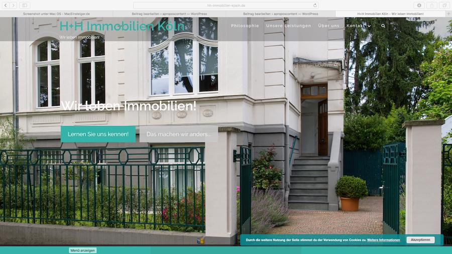 neue website f r h h immobilien k ln. Black Bedroom Furniture Sets. Home Design Ideas